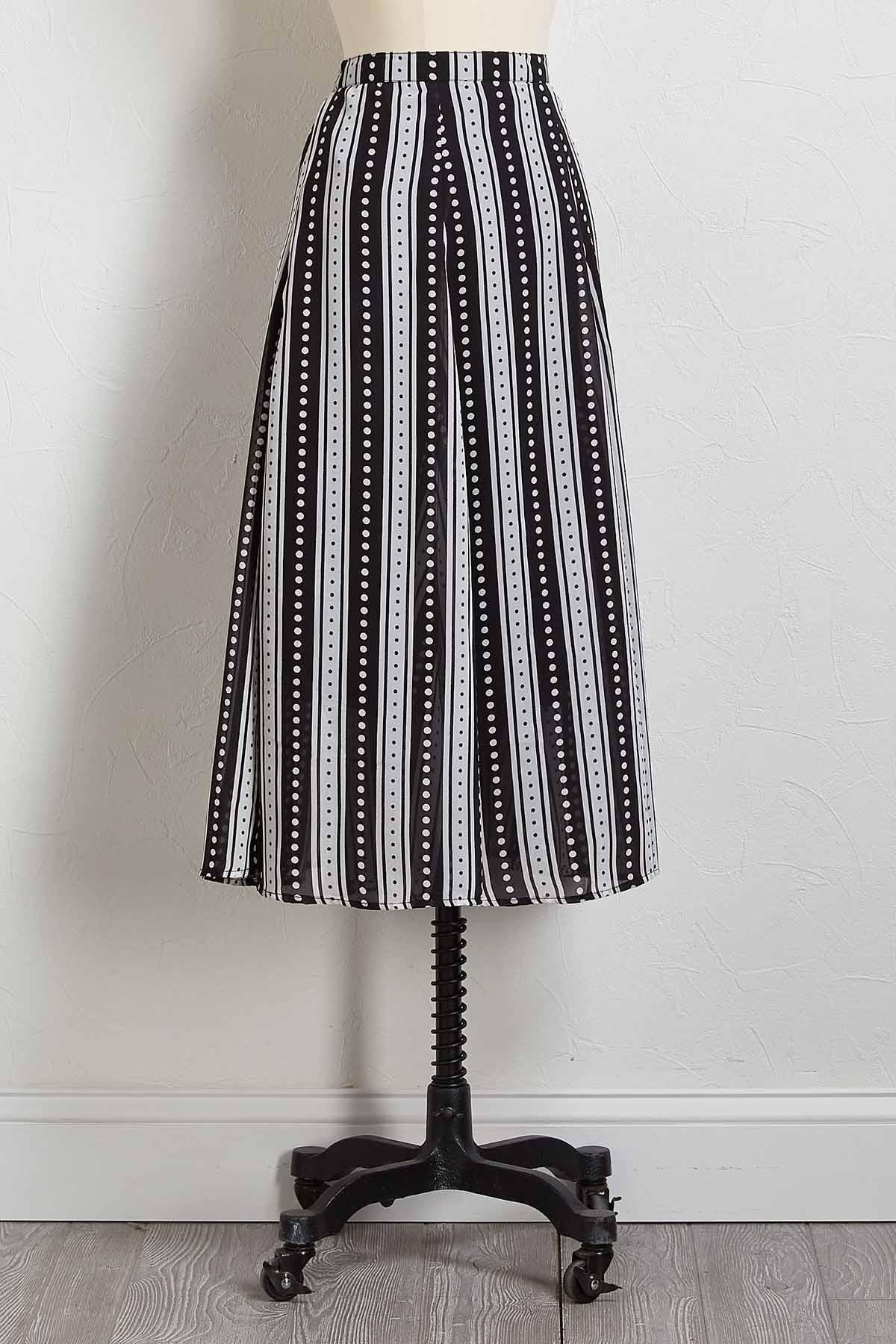 Stripe Dotted Midi Skirt