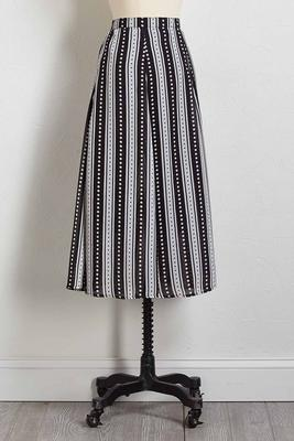 stripe dotted midi skirt