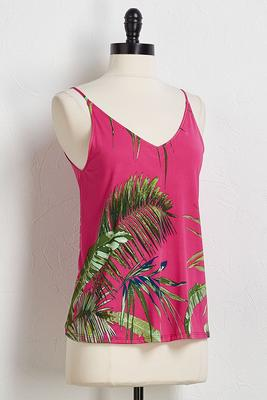 double v-neck palm tank