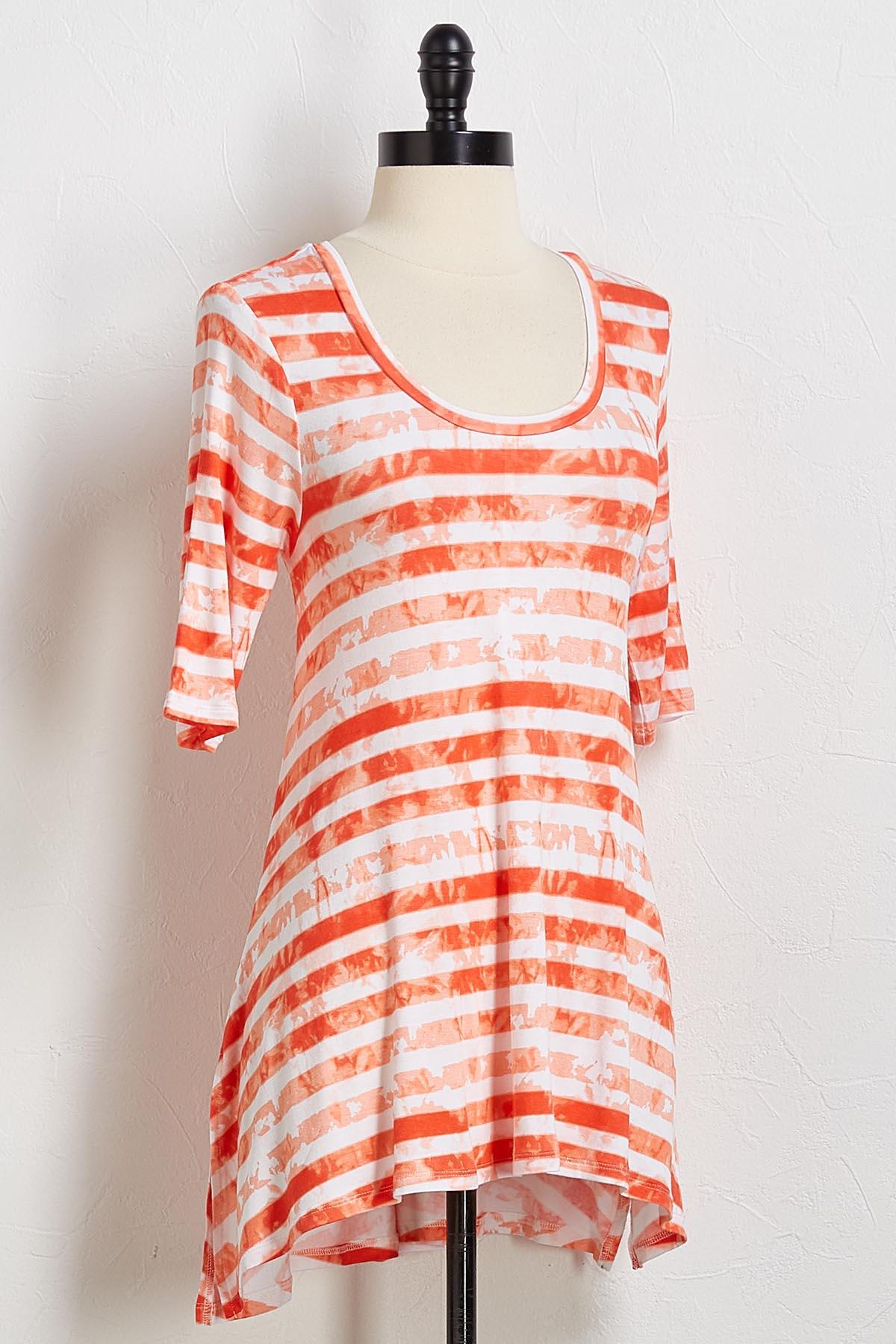 Orange Stripe Tie Dye Tunic