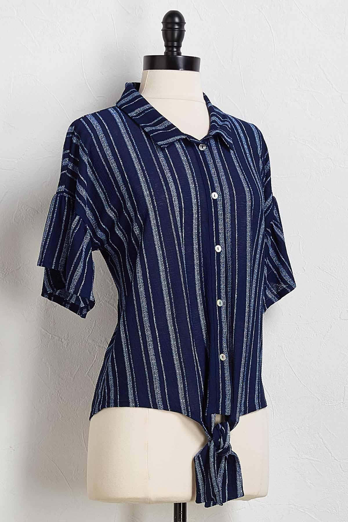 Pattern Stripe Knot Front Top