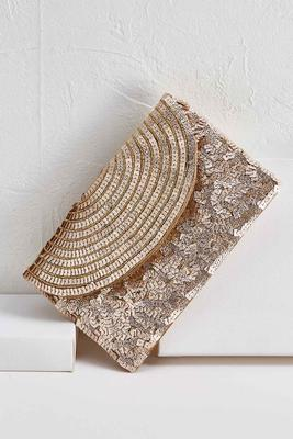 glitzy gold clutch