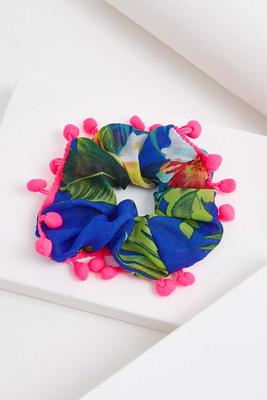 tropical pom-pom scrunchie