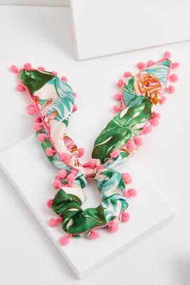 pom-pom tropical scarf scrunchie