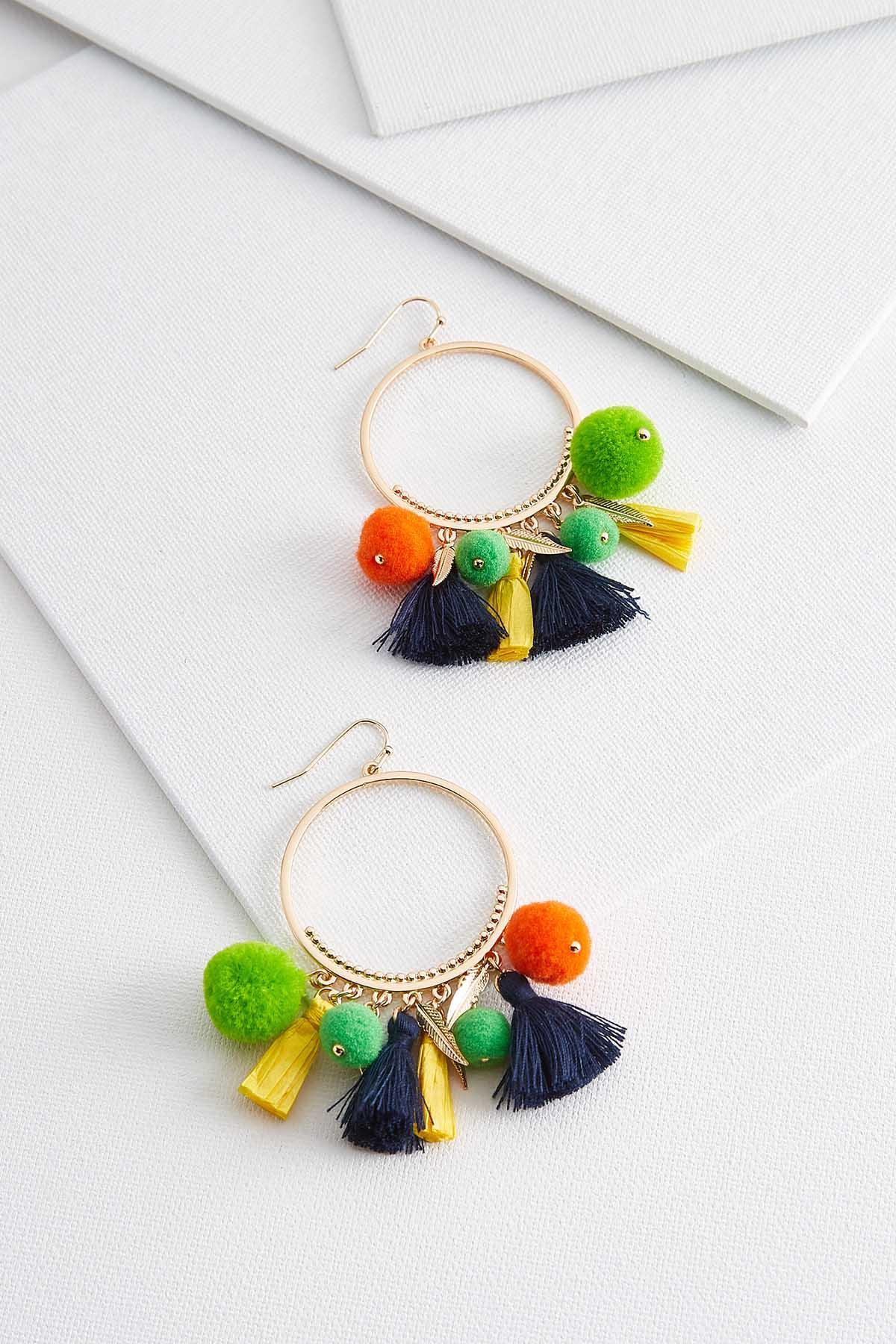 Dangle Tassel Pom- Pom Earrings