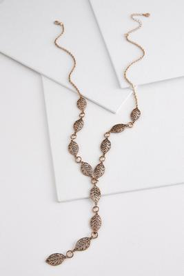 metal leaf y-necklace