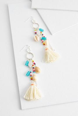 tasseled shell and bead earrings