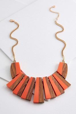 resin wood bib necklace