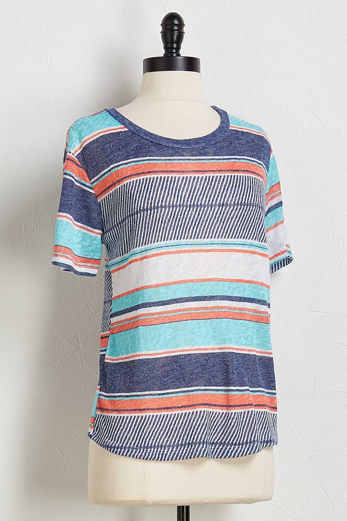 Hacci Mixed Stripe Top