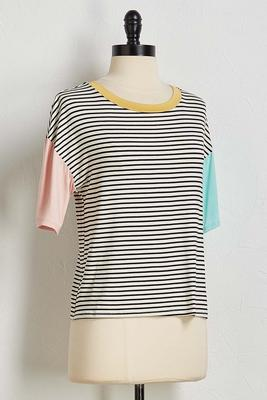 stripe colorblock tee
