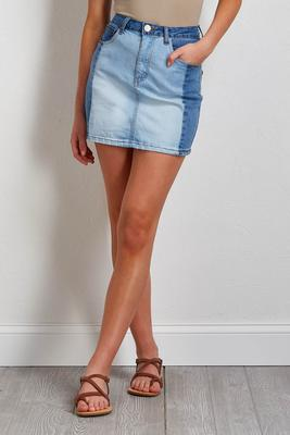 colorblock denim mini skirt