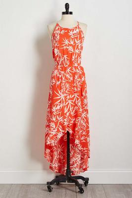 ruffled bamboo print maxi dress