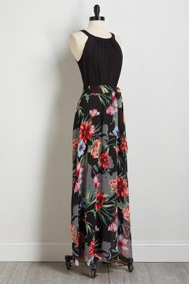 solid to floral maxi dress