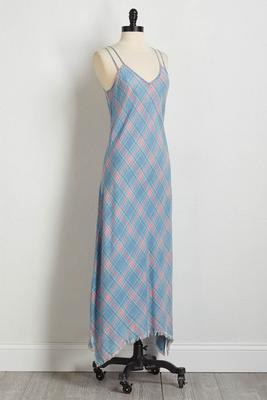 plaid chambray maxi dress