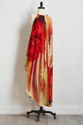 fiery floral maxi dress