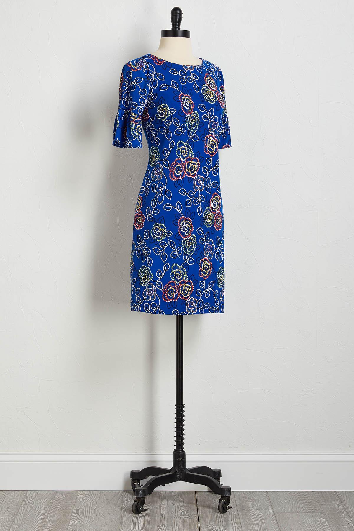 Textured Mod Floral Dress