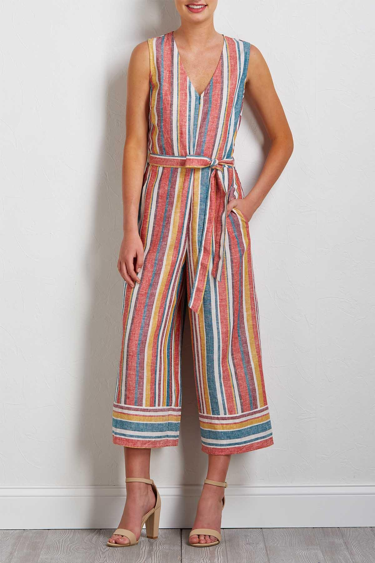Cropped Stripe Linen Jumpsuit