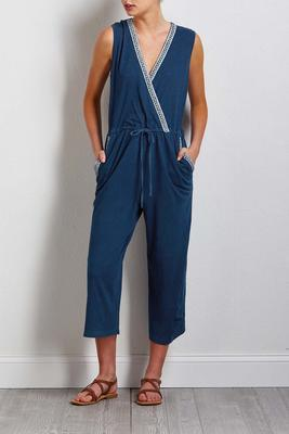cropped arrow trim jumpsuit