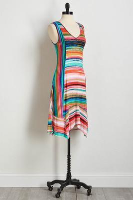 pop rainbow stripe midi dress