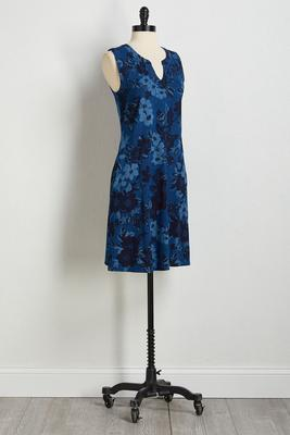 floral denim navy dress