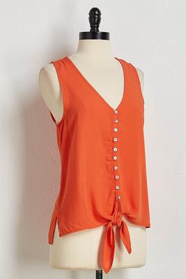 button down tie waist tank