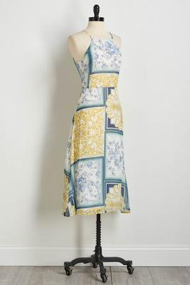 vintage patchwork midi dress