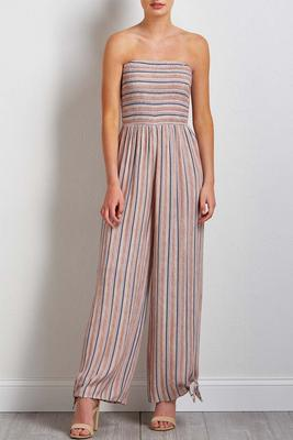 blush stripe smocked jumpsuit