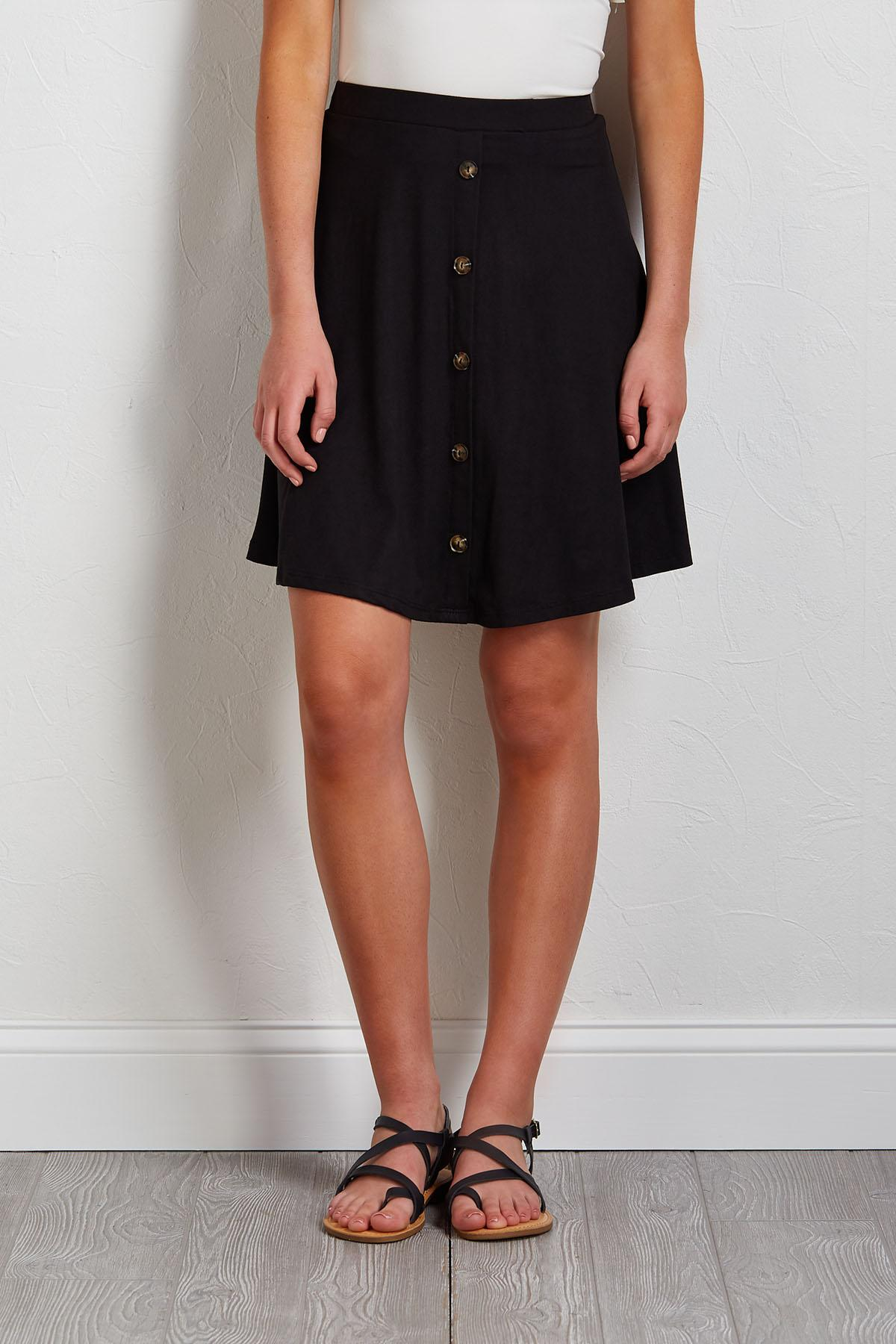 Button Front Mini Skirt