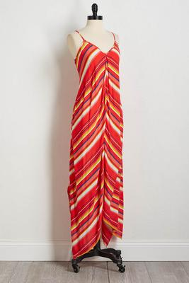 red mitered stripe maxi dress