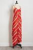 Red Mitered Stripe Maxi Dress