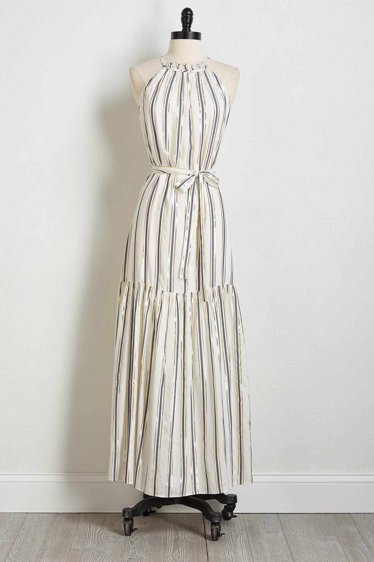 Lurex Stripe Maxi Dress