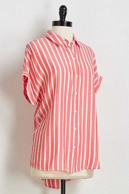 muted red stripe top