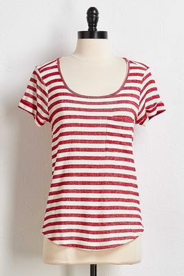 stripe twisted keyhole top