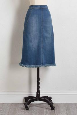 denim frayed hem midi skirt
