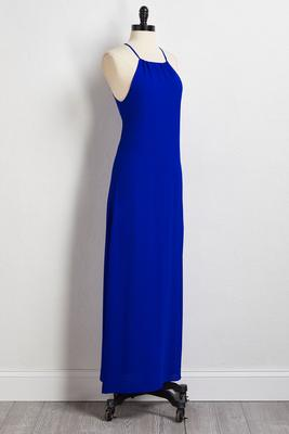 blue crepe maxi dress