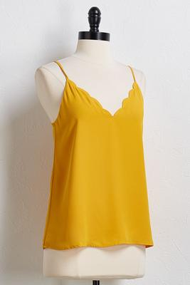 scalloped v-neck tank