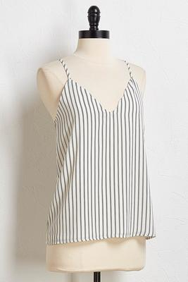 scalloped striped tank