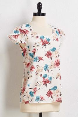 floral tulip sleeve top
