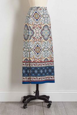 floral tile maxi skirt