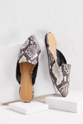 pointed animal print mules
