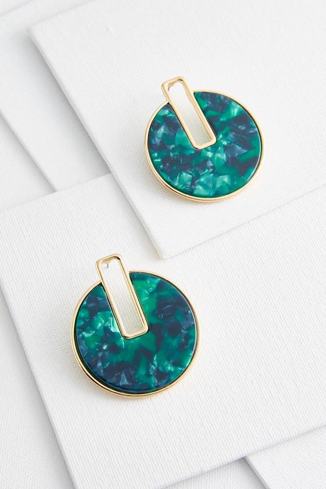 Marbled Resin Circle Earrings