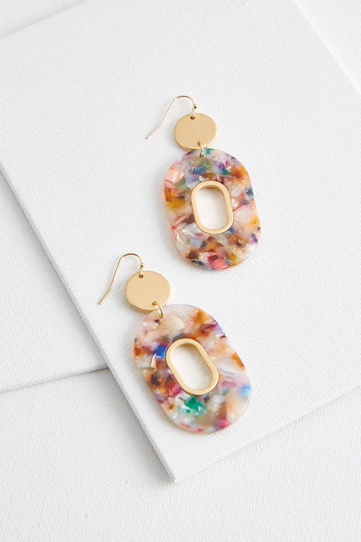 Colorful Lucite Oval Earrings