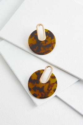 tortoise shell disc earrings