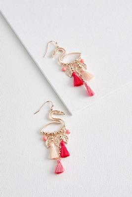 flamingo cutout tassel earrings
