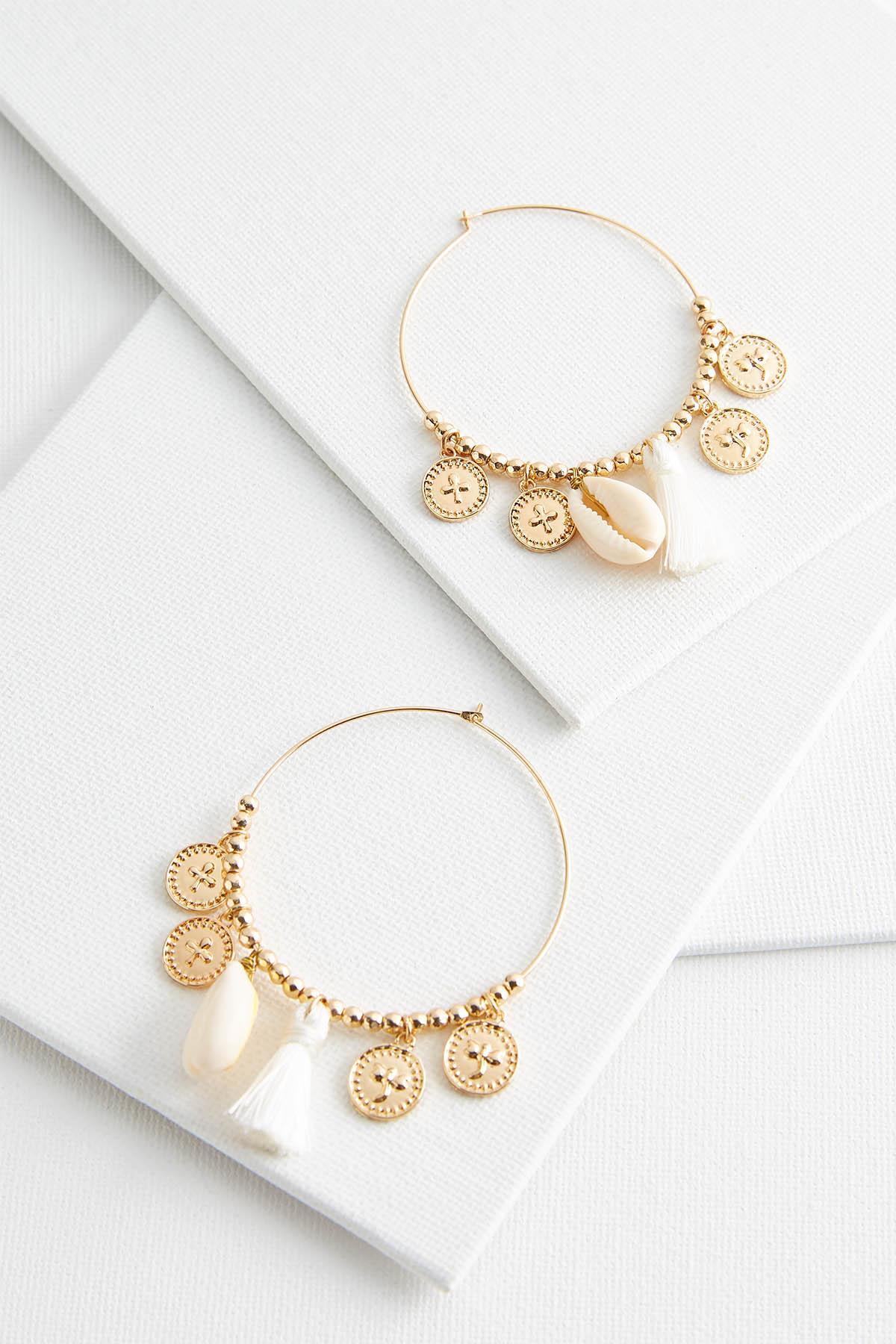 Tasseled Shell Hoop Earrings
