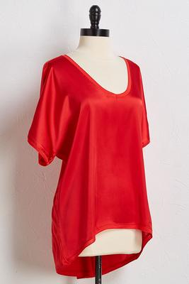 red hot satin tee