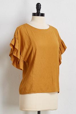 mustard ruffle sleeve top