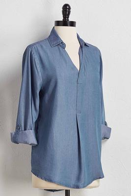 chambray tunic top
