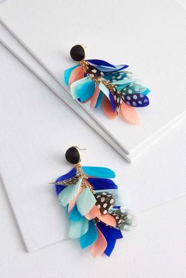 multi feather earrings