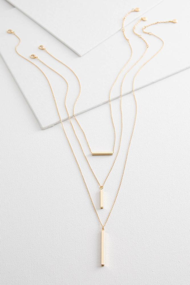 Layered Bar Pendant Necklace Set
